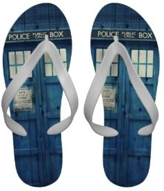 dr. who flip flops of the Tardis