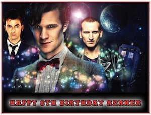 3 Doctors on this Doctor Who edible cake topper image